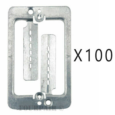 100 Pack Lot - Single Gang Low Voltage Wall Plate Steel Drywall Mounting Bracket