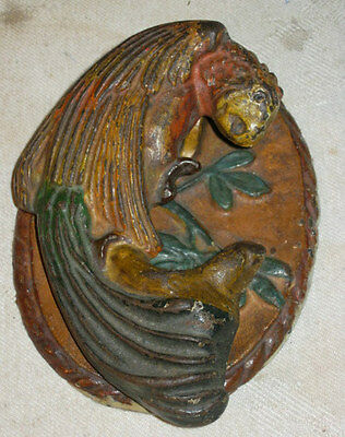 Antique # 16 Hubley Cast Iron Parrot Bird Home Door Art Doorknocker Bell Knocker