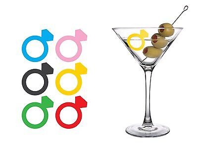 Kikkerland DIAMOND RING ROCK Silicone Drink Markers/wine charm, Set of 6 BA23RG