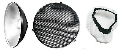 Beauty Dish 56 CM Silver + 55 CM Grid + Diffuse Cover For Bowens S Type Strobe