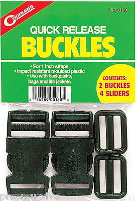 Quick Release Buckles Set 2, For 1 Inch Straps, Includes 4 Sliders Impact Resist