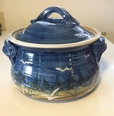 Handcrafted Pottery Casserole / Tureen  - 2+ Qt.  Blue with seashore theme