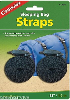 """Sleeping Bag Straps 2, 3/4"""" Strong Polypropylene With Quick Release Buckle"""