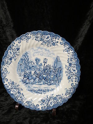 "JOHNSON BROS. COACHING SCENES - BLUE 9 3/4"" DINNER PLATE IN VERY GOOD CONDITION"