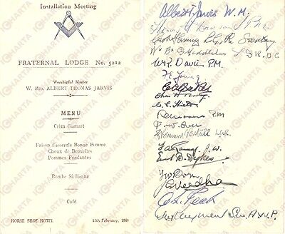 1949 LONDON FREEMASONRY Fraternal Lodge 5212 Menù installazione con AUTOGRAFI