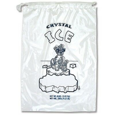 "11"" x 18"" 1.5 Mil Clear 8 LB Pound Drawstring Draw String Ice Bags 500 Pc"