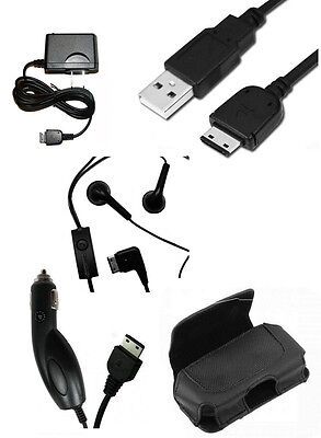 USB Cable + Travel Home + Car Charger + Leather Case + OEM Headset for Samsung