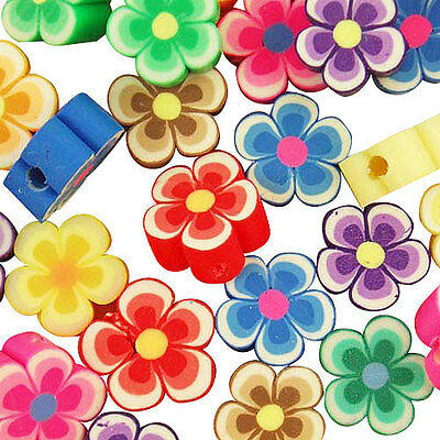 50 Mixed Polymer Fimo Clay FLOWER Spacer Beads 8mm