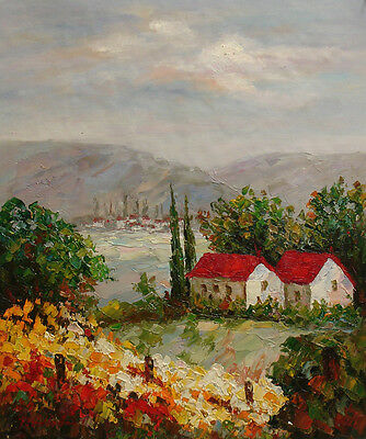 "Oil Painting of Landscape Trees House on Field Mountain 20""x24"" Stretched Canvas"