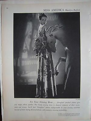1947 Miss America Marilyn Buferd Dress Everglaze Fabrics Fashion Vintage Ad