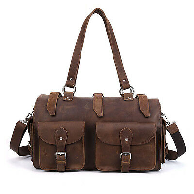 Large Mens Vintage Style Luggage Duffle Bags Real Leather Travel Tote