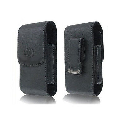 Vertical Premium Leather Pouch Case Cover Clip - See full compatibility list
