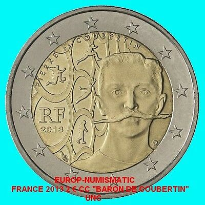 "France 2013 2 Euro Commemorative ""baron Pierre De Coubertin"" Superbe    Prevente"