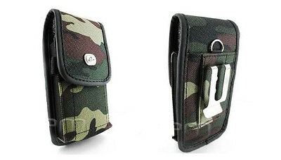 Vertical Army Camouflage Camo Rugged Heavy Duty Canvas Case Cover Clip