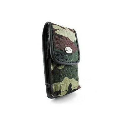 Vertical Camouflage Camo Rugged Heavy Duty Canvas Belt Clip Case Pouch Cover