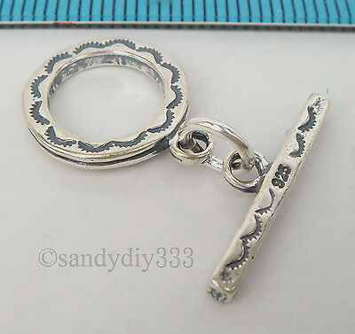 1x OXIDIZED STERLING SILVER BALI TOGGLE FLOWER ROUND CLASP 13mm #1766
