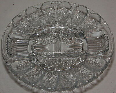 Vintage American Brilliant Period Abp Cut Glass Food Egg Serving Platter Tray