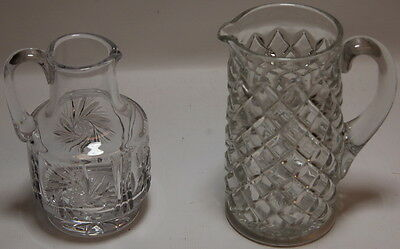 2 Vintage Large Abp American Brilliant Period Cut Glass Crystal Pitchers