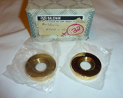 (2) Baldwin 5006-030 Estate Rosette Pair for Passage Lever/Knob POLISHED BRASS