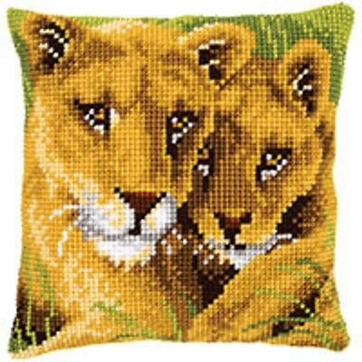 Lion and Cub - Vervaco - Large Holed Tapestry Canvas Cushion Kit - PN-0145970