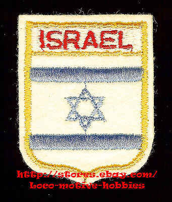 LMH PATCH Felt Badge ISRAEL Israeli FLAG  Shield Crest 6-Point Star Blue Stripes