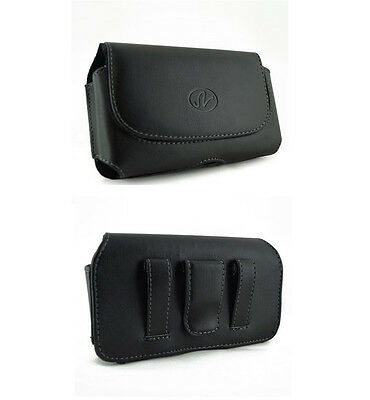 New Black Carrying Leather Cover Case Pouch Side Clip w Loops for Verizon Phones