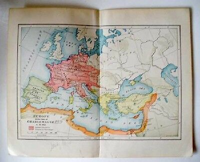 Antique Map: EUROPE in the TIME OF CHARLEMAGNE A. D. 814.