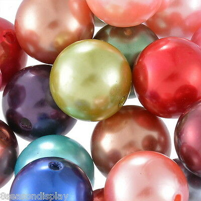 """100PCs Acrylic Spacer Beads Smooth Round Mixed 20mm(6/8"""")Dia."""