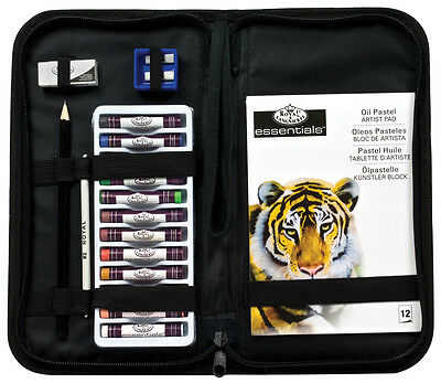 Artist Zip Up Carry Case 12 Colour Oil Pastels Blending Stumps & Pad Set-Kcops