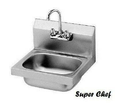 "New Commercial Kitchen Stainless Steel Wall-Mount Hand Sink w/ Faucet 15"" x 16"""