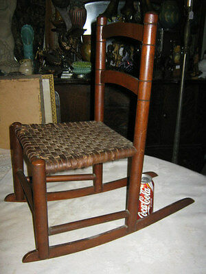Antique Child Wood Primitive Country Farm Rocking Chair Toy Doll Splint Folk Art