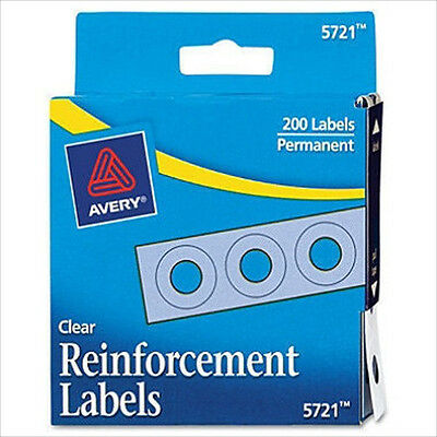 "Avery Hole Reinforcements Polyvinyl Made 1/4"" Diameter Clear 200 Pack"