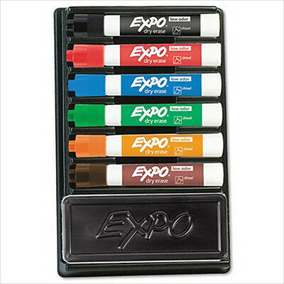 EXPO Dry Erase Chisel Tip Marker and Organizer Nontoxic Kit - 6 per Set Assorted