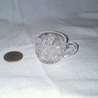 Child clear US glass Buzz Star punch cup doll house dishes antique miniature