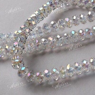 New Clear AB Crystal Glass 4x6mm Faceted Rondelle Loose Beads Jewelry Making
