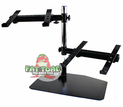Double DJ PA Mixer Laptop Player Studio Rack Mount Stand Dual Gear PC Computer