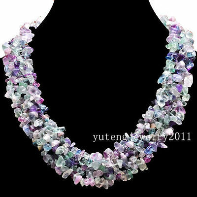 BB666 Wholesale Beautiful Rainbow fluorite Chip Necklace 17.5 inch