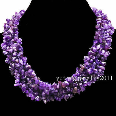 BB667 Wholesale Beautiful Natural Amethyst Chip Necklace 17.5 inch