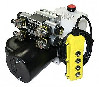 Flowfit 12V DC Double Acting Double Solenoid Hydraulic Power pack 4.5L Tank ZZ00