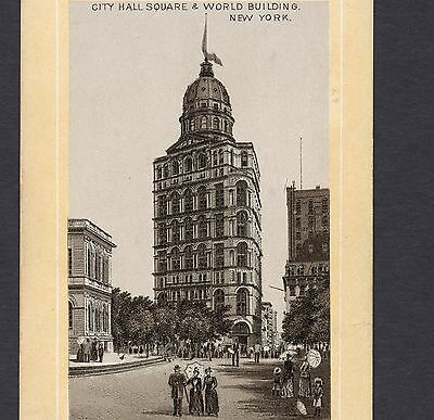 1890's City Hall World Building New York photo-style Jersey Coffee Ad TRADE CARD