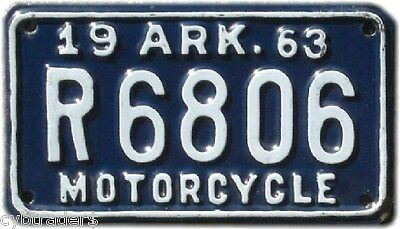 1963 Arkansas Motorcycle License Plate  Refrigerator / Tool  Box  Magnet