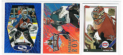 PATRICK ROY 3 CARD INSERT LOT(1)---CANADIENS...AVALANCHE