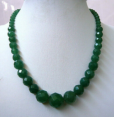 6-14mm Faceted Natural Emerald Beads Necklace 18""