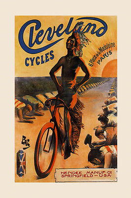 Cleveland Cycles Indian Bicycle Bike Springfield Vintage Poster Repo FREE S/H