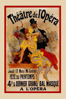 Mask Lady Carnival Theater Opera Show Paris French Vintage Poster Repro FREE S/H