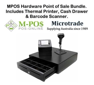 Point of Sale Package, Including Thermal Printer, Cash Drawer & Barcode Scanner.