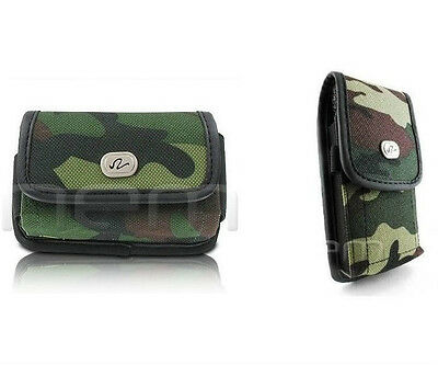 Camo Horizontal+Vertical Rugged Case Cover Pouch Clip Belt Loops for ATT Phones