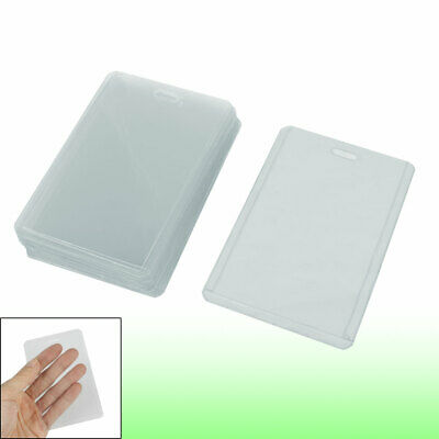 Office Workers Clear Plastic Vertical Business ID Badge Card Holder 20 Pcs