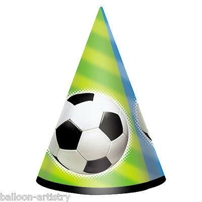 8 Football Champion Sports Party Soccer Paper Cone Hats