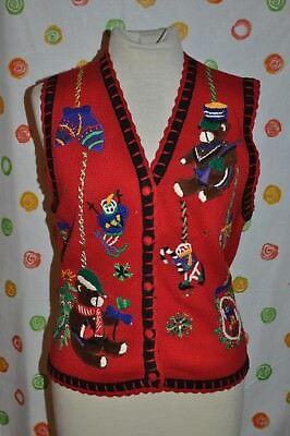 c28a86920 SEGUE UGLY RED CHRISTMAS PARTY SWEATER VINTAGE M TREES BEADS STARS ...